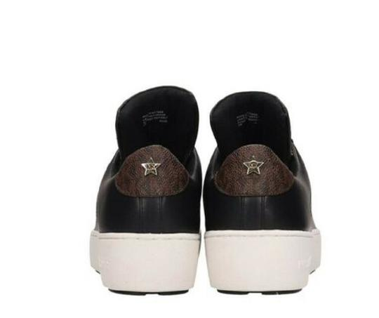 Michael Kors Mindy Sneaker Leather Star Sneakers Black/Gold Athletic Image 5