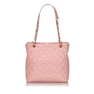 Chanel 9ichto002 Vintage Cowhide Leather Tote in Pink