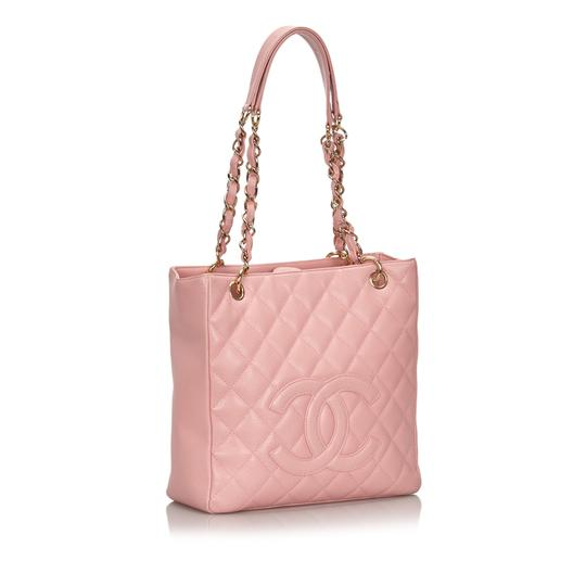 Chanel 9ichto002 Vintage Cowhide Leather Tote in Pink Image 1