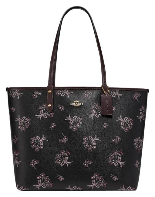 Item - City Reversible with Ribbon Bouquet Print Black Pink Multi/Oxblood Coated Canvas Tote