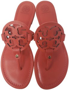 Tory Burch Miller Reva Logo Gold Hardware Patent Leather Red Sandals