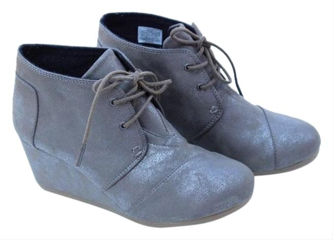 TOMS Pewter Wedge Boots/Booties Size US 7.5 Regular (M, B) TOMS Pewter Wedge Boots/Booties Size US 7.5 Regular (M, B) Image 1