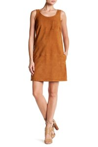 ATM Anthony Thomas Melillo short dress Brown Suede Leather Sleeveless Pocket on Tradesy