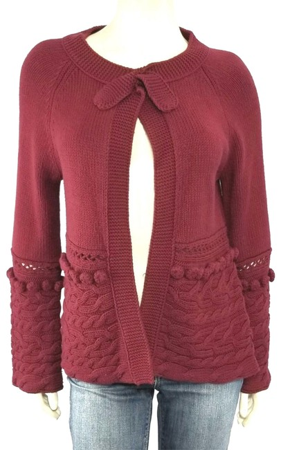 Item - Collar Knit Bow Pom Pom Accent Cardigan Red Sweater