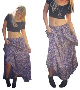Vintage Bohemian 70s Maxi Dress Maxi Skirt blue, purple, pink, cream