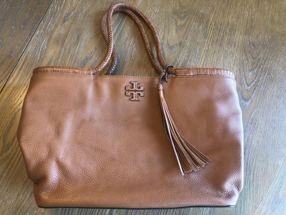 Tory Burch Taylor In Color Saddle Brown Tan Leather Tote 47 Off Retail