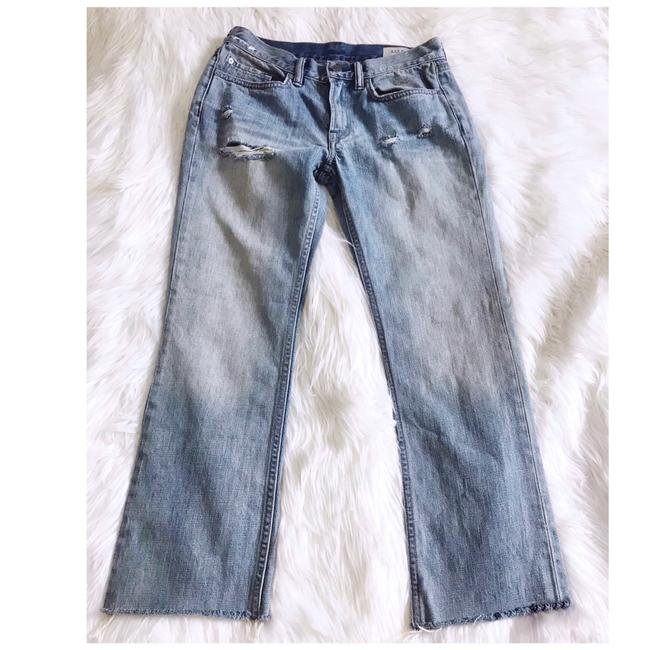 Item - Faded Blue Distressed Serene Cropped Kick Flare Leg Jeans Size 2 (XS, 26)