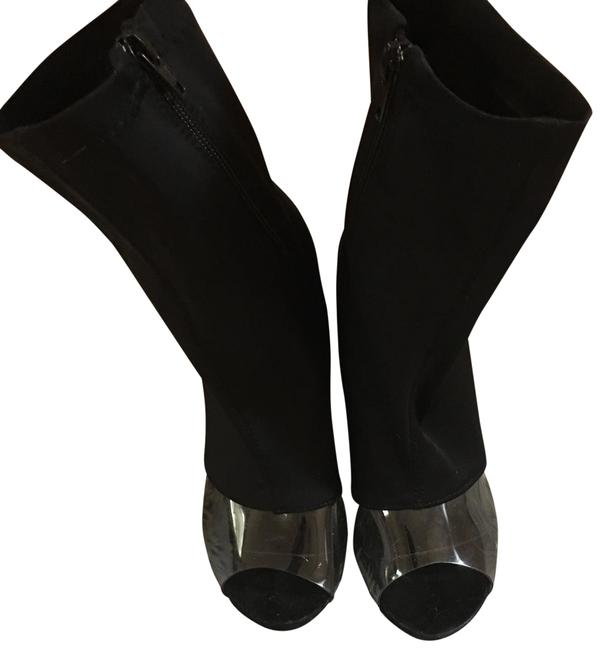 Nordstrom Black Clear Peep Toe Boots