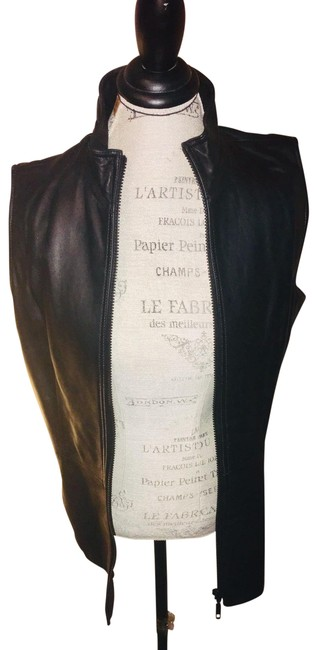 Item - Black Woman's Real Leather Vest Size 12 (L)