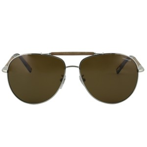 Chopard New SCHB36V Silver Metal Wood Brow Bar Polarized Aviator Pilot - item med img