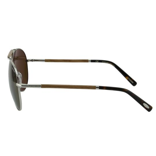 Chopard New SCHB36V Silver Metal Wood Brow Bar Polarized Aviator Pilot Image 5