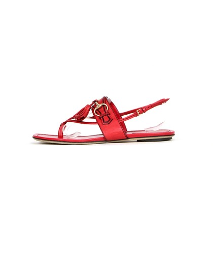 Gucci Leather Thong Flat Red Sandals Image 0