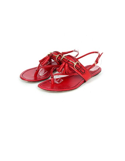 Gucci Leather Thong Flat Red Sandals Image 1