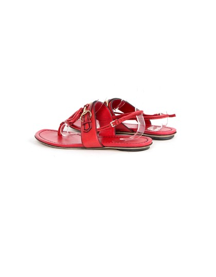 Gucci Leather Thong Flat Red Sandals Image 2