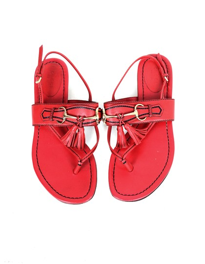 Gucci Leather Thong Flat Red Sandals Image 4