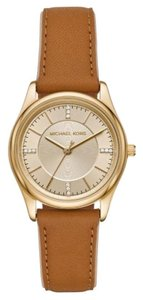Michael Kors NEW Women's Colette Gold-Tone and Brown Leather Watch MK2816