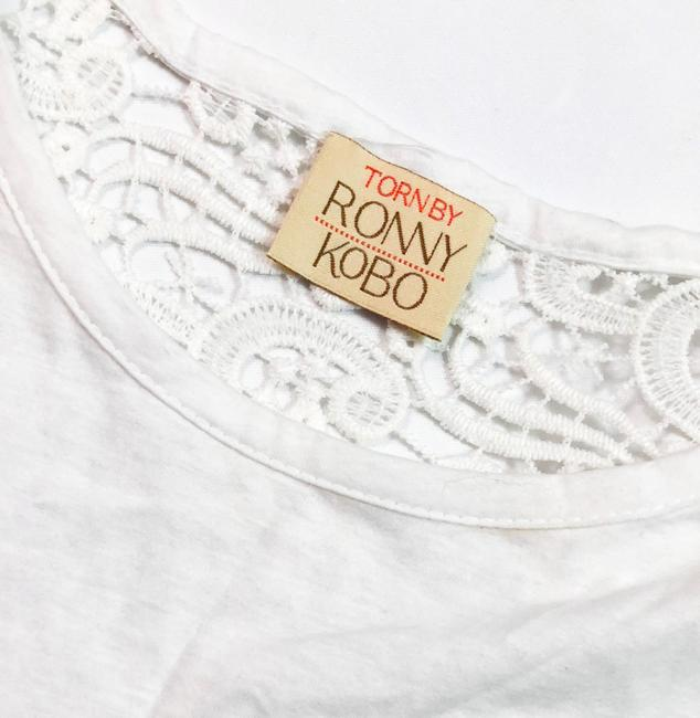 Torn by Ronny Kobo Crocet Lace Tunic Top WHITE Image 2