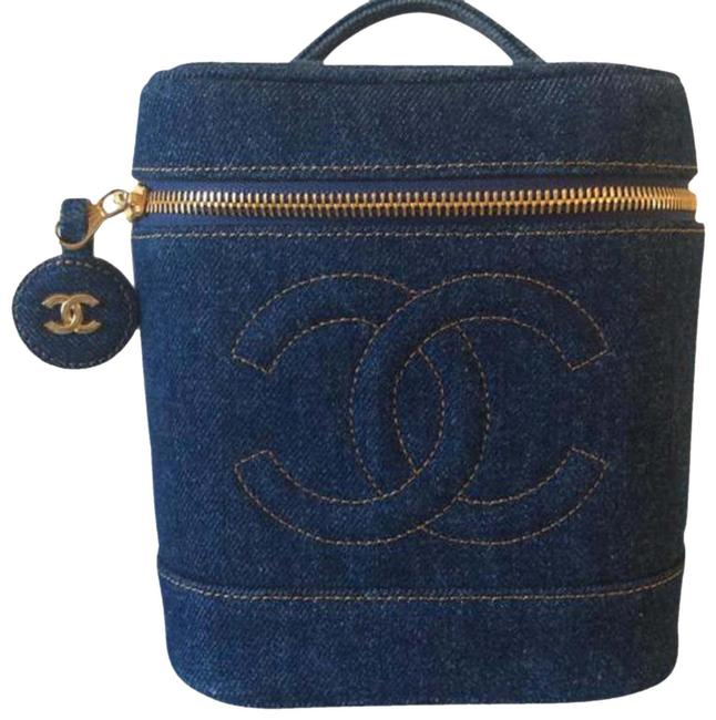 Item - Super Rare Vintage Vanity Train Case Blue Denim Weekend/Travel Bag