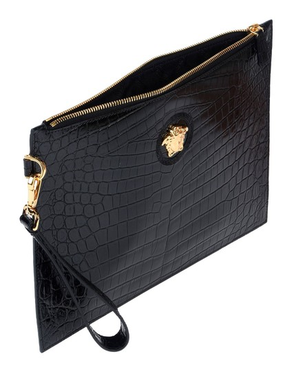 Versace Designer Pouch Purse Calskin Leather Black Clutch Image 2