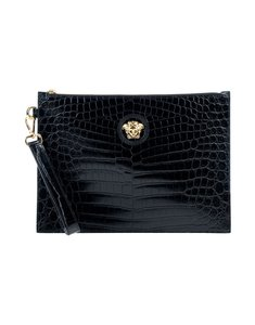 Versace Designer Pouch Purse Calskin Leather Black Clutch