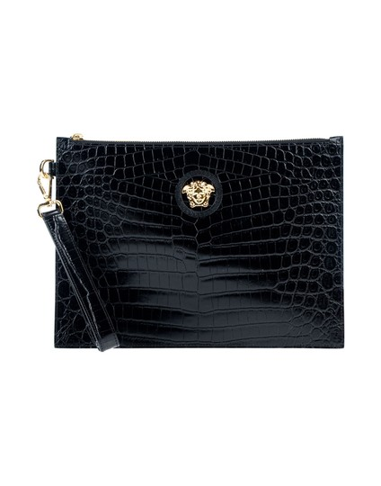 Preload https://img-static.tradesy.com/item/26134602/versace-medium-crocodile-print-logo-black-calfskin-leather-clutch-0-1-540-540.jpg