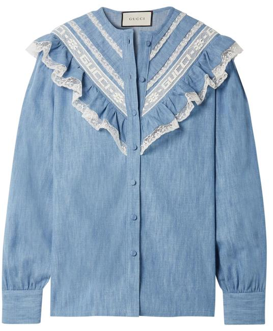 Preload https://img-static.tradesy.com/item/26134667/gucci-lace-trimmed-cotton-chambray-shirt-it-44-us-blouse-size-8-m-0-1-650-650.jpg
