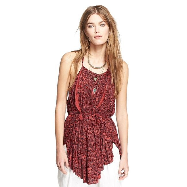 Free People Red/Black Viscose Knit Print Double Dutch Strappy Tank M Tunic Size 10 (M) Free People Red/Black Viscose Knit Print Double Dutch Strappy Tank M Tunic Size 10 (M) Image 1