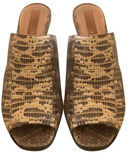 Reed Krakoff Lizard Skin black and cream Mules
