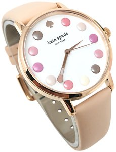 Kate Spade NEW vachetta leather and rose gold-tone metro watch KSW1253