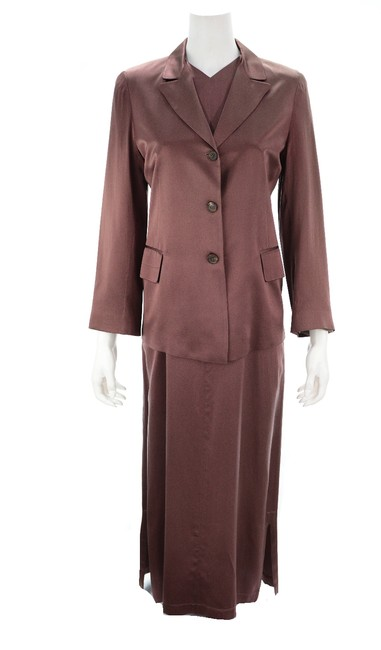 Preload https://img-static.tradesy.com/item/26134863/morgane-le-fay-brown-vintage-silk-blazer-and-suit-set-long-formal-dress-size-4-s-0-0-650-650.jpg