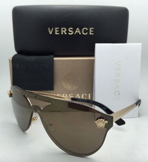 Versace New VERSACE Sunglasses VE 2161 1002/F9 Gold & Black /Brown+Gold Mirror Image 1