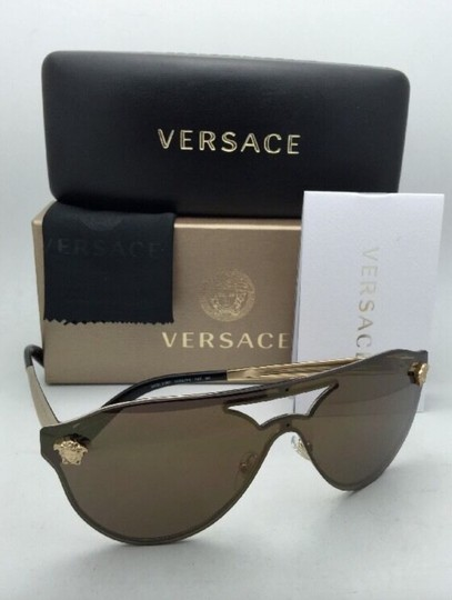 Versace New VERSACE Sunglasses VE 2161 1002/F9 Gold & Black /Brown+Gold Mirror Image 11