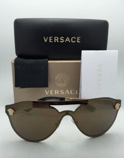 Versace New VERSACE Sunglasses VE 2161 1002/F9 Gold & Black /Brown+Gold Mirror Image 2