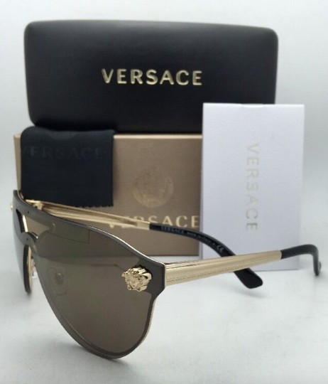 Versace New VERSACE Sunglasses VE 2161 1002/F9 Gold & Black /Brown+Gold Mirror Image 5