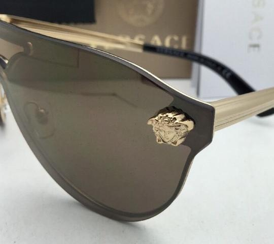 Versace New VERSACE Sunglasses VE 2161 1002/F9 Gold & Black /Brown+Gold Mirror Image 6