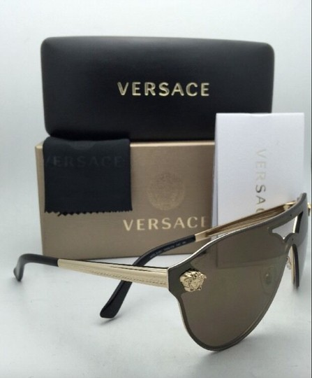 Versace New VERSACE Sunglasses VE 2161 1002/F9 Gold & Black /Brown+Gold Mirror Image 7