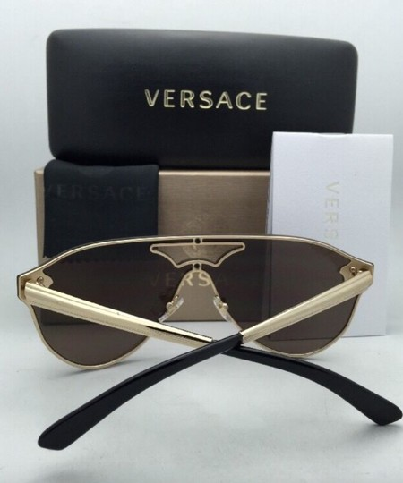Versace New VERSACE Sunglasses VE 2161 1002/F9 Gold & Black /Brown+Gold Mirror Image 8