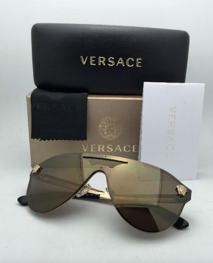 Versace New VERSACE Sunglasses VE 2161 1002/F9 Gold & Black /Brown+Gold Mirror Image 9
