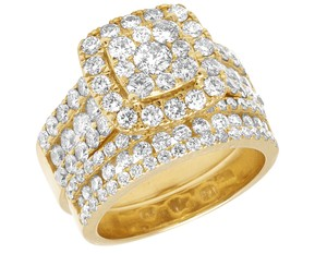 Jewelry Unlimited Ladies 14K Yellow Gold 3 CT Diamond Cluster Bridal Ring Set