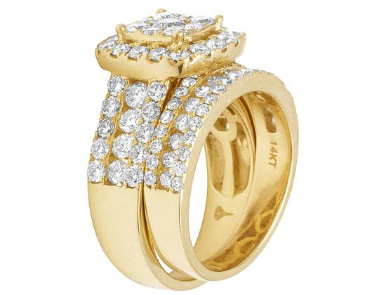 Jewelry Unlimited Ladies 14K Yellow Gold 3 CT Diamond Cluster Bridal Ring Set Image 2