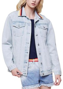 Juicy Couture Boyfriend Embroidered Stripe Light Jeans Womens Jean Jacket