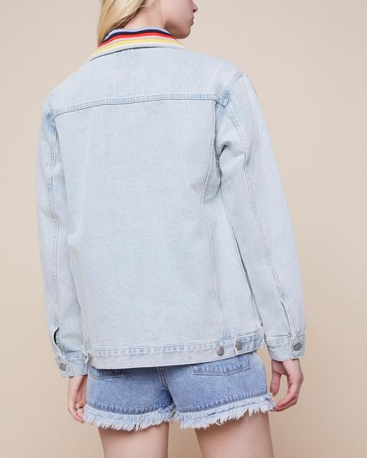Juicy Couture Boyfriend Embroidered Stripe Light Jeans Womens Jean Jacket Image 1