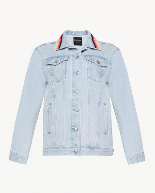 Juicy Couture Boyfriend Embroidered Stripe Light Jeans Womens Jean Jacket Image 4