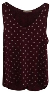Ann Taylor LOFT Top Maroon with white dots