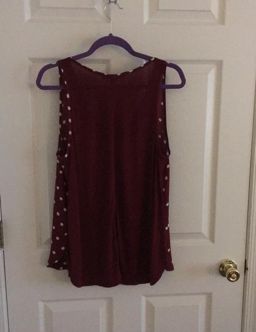 Ann Taylor LOFT Top Maroon with white dots Image 1
