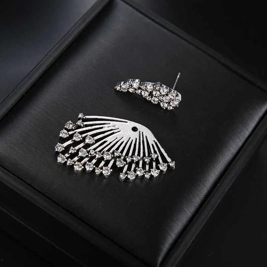 Other Unique Silver Crystal Angel Wing Statement Earring Stud with Jacket Image 1