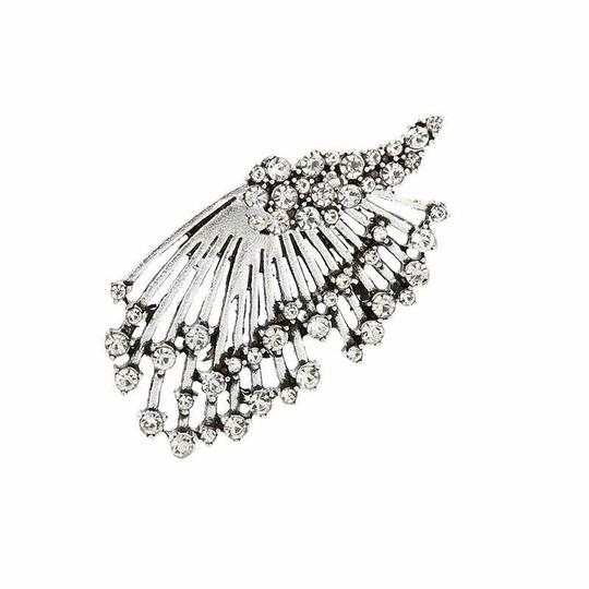 Other Unique Silver Crystal Angel Wing Statement Earring Stud with Jacket Image 2