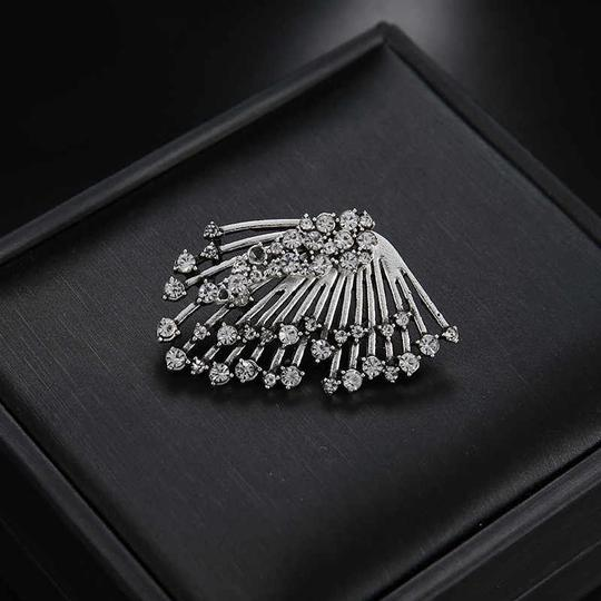 Other Unique Silver Crystal Angel Wing Statement Earring Stud with Jacket Image 3