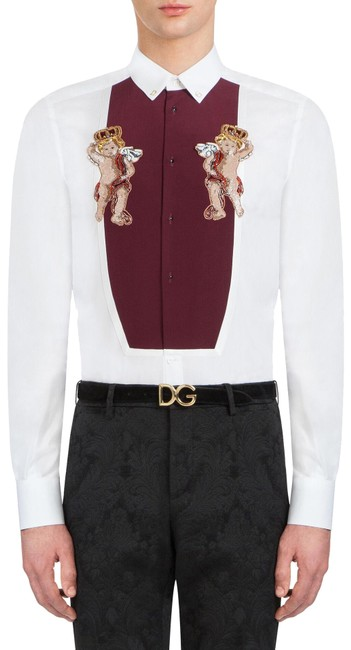 Preload https://img-static.tradesy.com/item/26135049/dolce-and-gabbana-white-men-s-gold-fit-tuxedo-cotton-embroidery-shirt-button-down-top-size-2-xs-0-4-650-650.jpg
