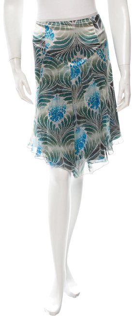 Item - Blues Greens White Abstract Floral Skirt Size 8 (M, 29, 30)